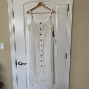 White Button Front Sleeveless Midi Dress